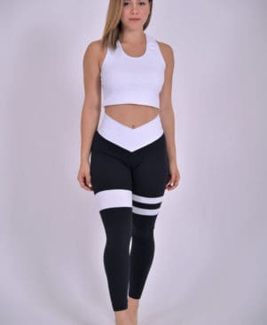 Mix Striped Black Leggings