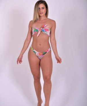 Skin Flowers Strapless Tie Reversible Scrunch Bikini Set
