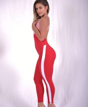 Red and White Side Stripe Jumpsuit (Custom-Made)