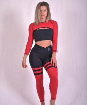 NC Aerobic Red Striped Leggings