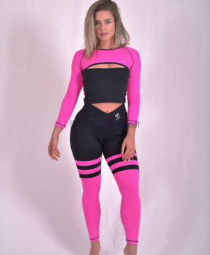 Black Pink Aerobic Striped Leggings