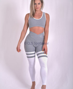 Fuse White Striped Leggings (Custom-Made)