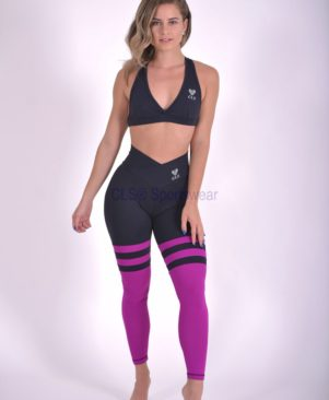 Black Tonic Aerobic Striped Leggings