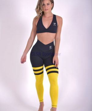 Black Girassol Aerobic Striped Leggings