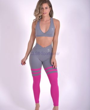 Grey Carmin Aerobic Striped Leggings
