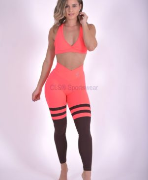Orange Urban Aerobic Striped Leggings