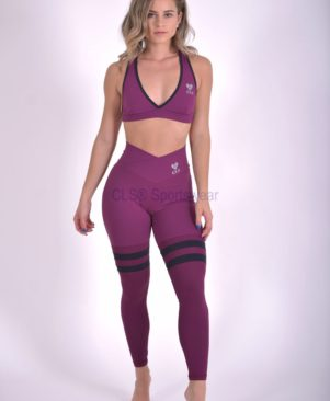 NC Malbec Black Aerobic Striped Leggings
