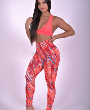 NC Viva Light Orange-Blue Palm Leggings
