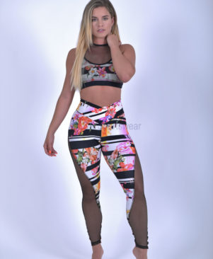 NC Wild Mesh Horizontal Garden Heart Leggings