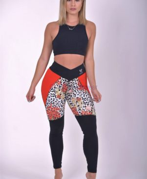 Shape Bicolor Red Cheetah Leggings