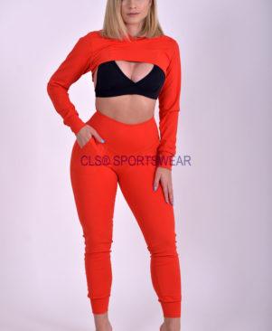 NC Shape Crop Hoodie Top Vermelho