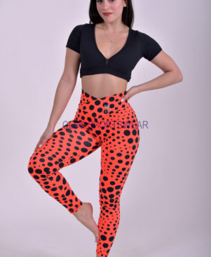 NC Viva Light Orange Polka Dots Leggings & Biker Shorts