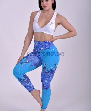 NC Viva Light Blue Pixelated Leggings & Biker Shorts