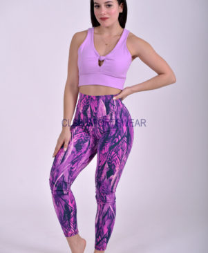 NC Viva Premium Purple Feathers Leggings & Biker Shorts