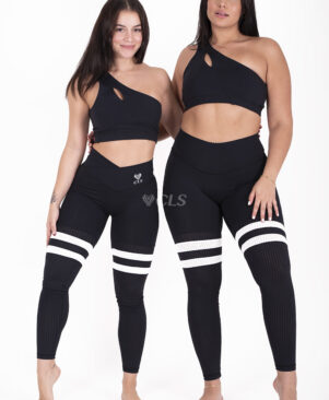 NC Seamless Front Striped Leggings Preto