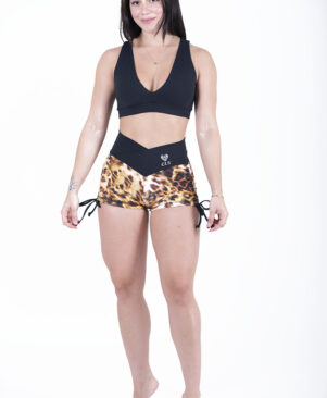 NC Shape Gold Leopard Side Tie Shorts